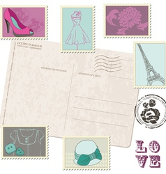 retro postcard with set of fashion stamps vector image