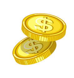 shiny gold coins with engraved dollar signs drops vector image vector image