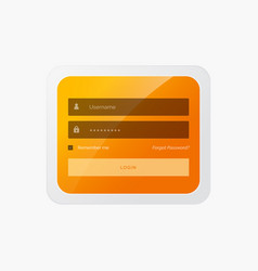 Stylish login form in yellow theme for website vector