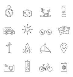 Travel icon set outline vector image