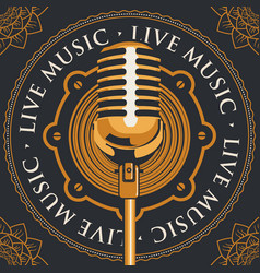 banner with an acoustic loudspeaker and microphone vector image vector image