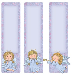 Vertical banner with cute angels vector image vector image