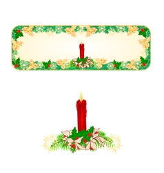 Banner Christmas Spruce with a red candlestick vector image vector image