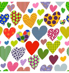 Bright colored hearts Seamless pattern vector image vector image
