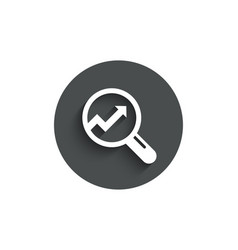 chart simple icon report graph sign in magnifier vector image