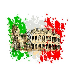 Colored sketch of the Roman Colosseum vector image