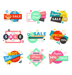 sale material design geometric icon set vector image