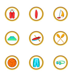 Water sport holiday icon set cartoon style vector