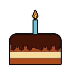 cute birthday cake cartoon vector image