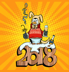2018 new year penguin suit yellow earth dog vector