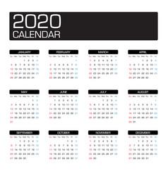 2020 year calendar template vector image