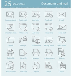 25 linear icons set vector image