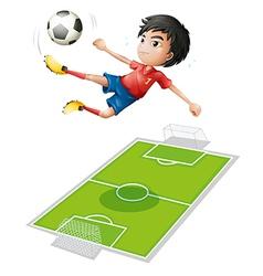 A boy kicking the ball vector image