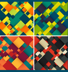 abstract background set with colorful squares vector image