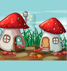 ants at the mushroom house vector image