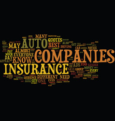 Auto insurance companies text background word vector