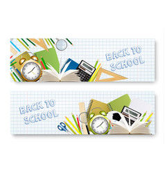 Back to school banners with supplies tols and vector