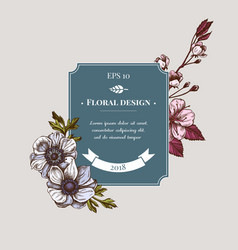 Badge design with colored anemone iris japonica vector