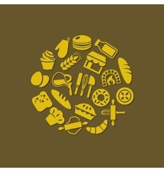 bakery icons in circle vector image