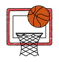 Basketball balloon and basket vector