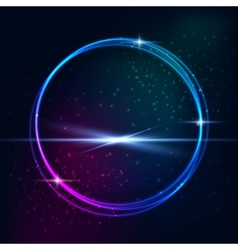 Blue light effects on round placeholder vector image