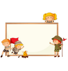 Boy and girl scout and whiteboard frame vector