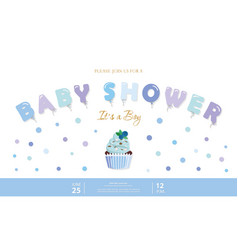 Boy bashower template party invitation card vector
