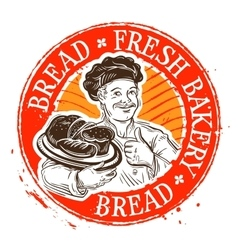 Bread and the baker stamp vector