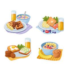 breakfast meals cartoon morning food types vector image