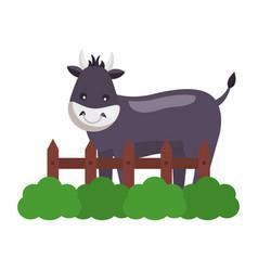 bull fence farm vector image