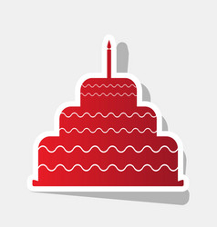 cake with candle sign new year reddish vector image