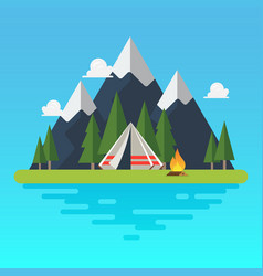 camping tent with landscape vector image