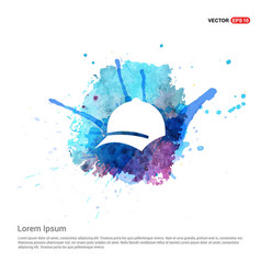 cap icon - watercolor background vector image