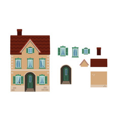 Cartoon house shutter house l with separate vector