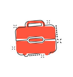 cartoon suitcase icon in comic style luggage bag vector image