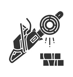 Chainsaw glyph icon vector