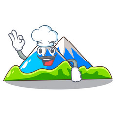 Chef miniature mountain in the character form vector