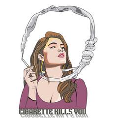Cigarette kills you woman smoking vector