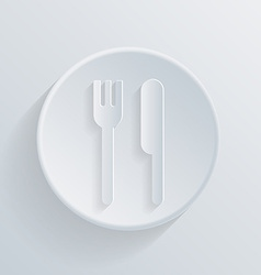 Circle icon with a shadow fork and knife vector