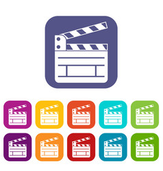 Clapperboard icons set vector