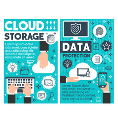 cloud storage information technology posters vector image