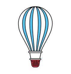 Color sectors silhouette of hot air balloon vector