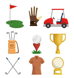 colorful golf icons set vector image