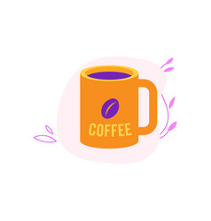 cup of coffee in yellow and violet colors isolated vector image