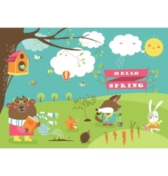 Cute animals in spring forest vector