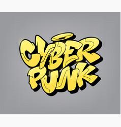 Cyberpunk font in graffiti style vector