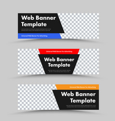 Design black horizontal web banners with photo vector