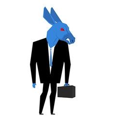 Donkey businessman Metaphor of Democratic Party of vector