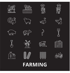 farming editable line icons set on black vector image