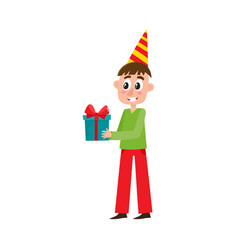 Flat man holding big birthday present box vector